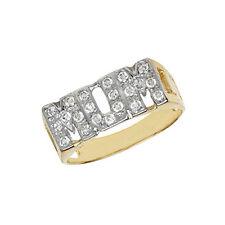 9ct Gold piedra engastada 'mamá' anillo con barbada lados