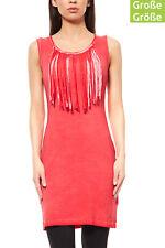 AjC Kleid Damen Mini Fransenkleid Freizeitkleid Jerseykleid Große Größen Rot