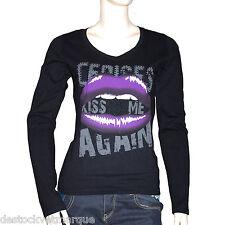 LE TEMPS DES CERISES t shirt KISS ME femme noir