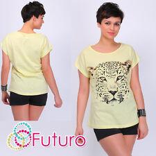 Moda Camiseta Tiger Print Cuello Bote Top de manga corta Partido TAMAÑOS 8-14 fb208