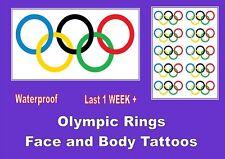 OLYMPIC RINGS  temporary FACE BODY TATTOOS waterproof  LAST 1 WEEK large / small