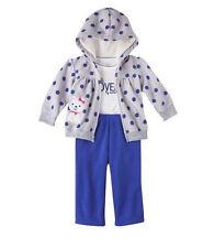 Carters 6 Months Fleece Cardigan Pants Bodysuit Set Baby Girl Outfit Blue