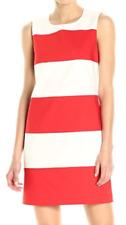 Anne Klein 10637762-G83 White/Tomato Color Block Stretch Cotton Shift Dress $119