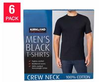 6 NEW Mens Black Crew Neck Tees Kirkland Signature 6-pack T Shirts PICK SIZE