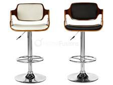 WALNUT WOOD BAR CHAIR/STOOL ARMS LEATHER SEAT CHROME LEG SWIVEL & ADJUST HEIGHT