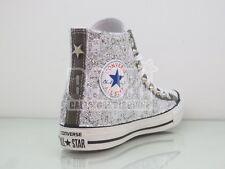 Converse all star grigio charcoal  pizzo + glitter argento  borchie artigianali
