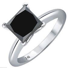 Certified 2.3Ct Princess Cut Black Diamond Bridal Engagement Ring 14k White Gold