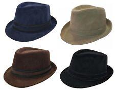 4bf03690861 FEDORA TRILBY GANGSTER FEDORA BUCKET HAT MENS WOMEN CORDUROY HAT CAP