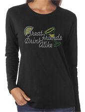 Great Friends Drink Alike Funny Rhinestone Women's Long Sleeve Shirts Margarita