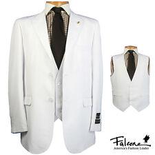 NWT LUXURY MEN'S SUIT BY FALCONE 3869-007 WHITE COLOR 3PC SET