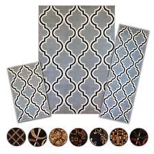3 Pc Set Modern Contemporary Geometric Area Rug Runner Accent Mat Carpet