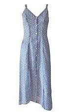 Blue Strappy Button Down Summer Maxi Dress