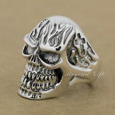 925 Sterling Silver Huge Heavy Skull Ring Mens Biker Punk Ring 9Q019C UK P½~Z4