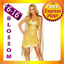 J54 Ladies Gold Toga Cleopatra Egyptian Goddess Fancy Dress Costume & Headband