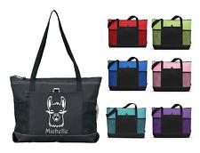 LLAMA w/ NAME Monogram Personalized Zippered Tote Travel Gym Bag Purse Homemade