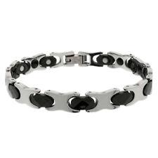 Men Women 8MM Tungsten CarbideTwo Tone XO Bar Link Magnetic Bracelet