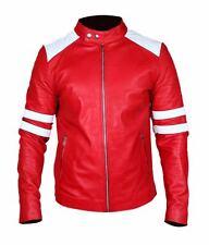 Men's fight club rétro mayhem rouge synthétique & cuir véritable veste rayures blanches