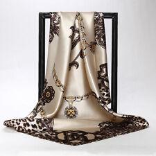 """Women's Girl Fashion Leopard Printed Twill Silk Beige Square Scarf Shawl 90*90"""""""