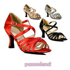 Scarpe ballo decollete danza raso cinturini listini tango salsa merengue Y1380