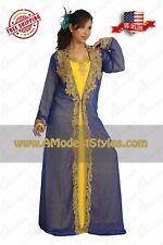 Fancy Multicolored 2 Piece Dubai Abaya Kaftan Islamic Wedding Dress  *md0553*