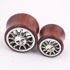 PAIR Ear Plugs Ear Gauges Tunnels Hand CARVED Tribal Sun Sono Wood ORGANIC