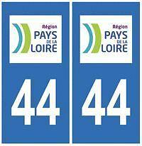 stickers autocollants plaques immatriculation auto Départeme Loire Atlantique 44