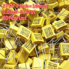 50Pcs 0.01uf-0.47uf 10NF-470NF 275VAC 275V 10MM X2 Polypropylene Film Capacitor