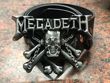 MEGADETH logo BUCKLE + FREE Belt heavy metal rock band skull cross bones