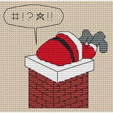 Santa Stuck in Chimney 1 Cross Stitch Design (kit or chart)