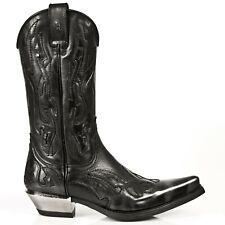 NEWROCK New Rock 7921-S3 Black Silver Flame Devil Leather Boot Biker Rock Boots