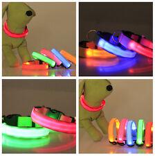 Adjustable LED Dog Pet Collar Night Safety Flashing Nylon Collar Leash