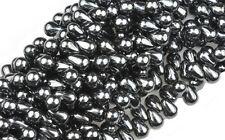 100 Hematite Czech Glass Tear Drop Beads 6MM