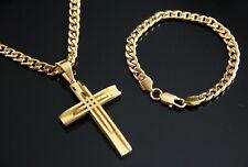 "18-40"" Men Stainless Steel Gold Cuban chain Necklace Cross Pendant Bracelet 7mm"