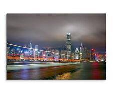 Wandbild Städtefotografie Hong Kong China bei Nacht auf Leinwand