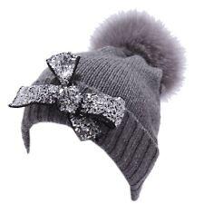 4849Y cuffia bimba girl REGINA ANGELA MAFFEI grey wool cashmere hat 0a7f7113ff92
