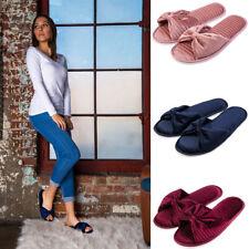 Aerusi Women Anti-Slip Open Top Bowknot Memory Foam Slippers House Indoor Shoes