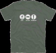 EAT SLEEP TROMBONE Aerophon Blechblasinstrument Zugposaune Ventil T-Shirt S-XXXL