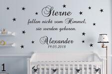 Sterne fallen +Name+Datum Baby Kinderzimmer Wandaufkleber Wandspruch WandTattoo