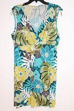 Womens Misses Croft & Barrow Petite Floral Leaf Empire Surplice Dress Blue PXL