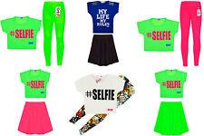 Girls Neon Dress Top Skirt Leggings Kids Party Dresses New Age 7-13 Years