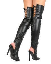 754c4f8fee15 New Women Qupid Interest-141 PU Thigh High Peep Toe Back Lace Stiletto Boot