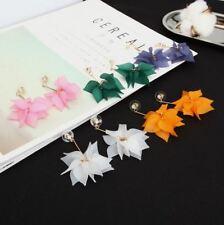 Fashion Women Vintage Flower Petal Long Tassel Ear Pendant Stud Jewelry Gift AU
