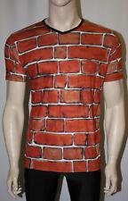 MEN's Unique Muro di Mattoni Blocchi Stampa Scollo A V T-Shirt Top Goth Punk Emo S M L XL
