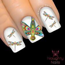 RAINBOW DRAGONFLY Nail Water Transfer Decal Sticker Art Tattoo