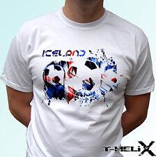 Iceland football flag - white t shirt top design - mens womens kids & baby sizes