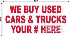 2' x 4' VINYL BANNER WE BUY USED CARS TRUCKS YOUR #