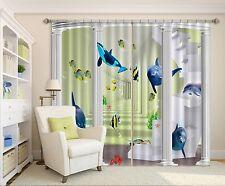 3D Dolphin 45 Blockout Photo Rideau impression Rideaux Rideaux Tissu fenêtre UK