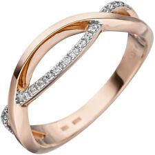 Women's Ring Mit 20 Diamonds Brilliants 585 Gold Rose Gold Bicolour Finger Ring