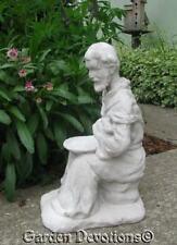 "Adorable 19"" St. Francis & Rabbit Birdfeeder Bird Bath Planter Aged Look ~ New!"