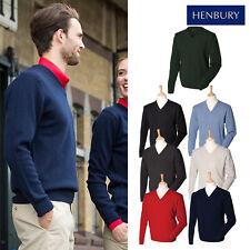Henbury Lambswool Men's V-Neck Jumper H730 - Office Work Business Wear Sweater